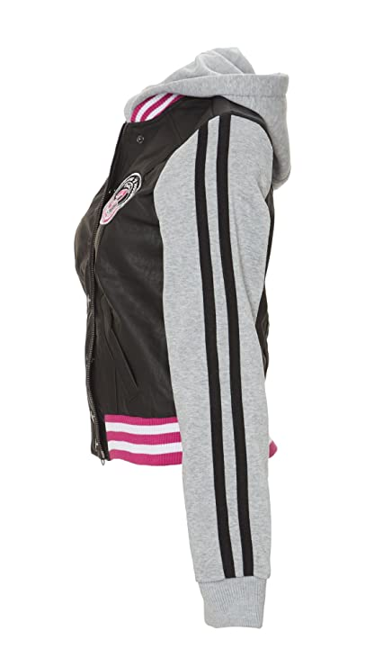 f5bec327094d4e (7923) Dollhouse Collegiate Vegan Leather and Fleece Varsity Jacket  (Small-3X) in Black Size: 3X at Amazon Women's Coats Shop