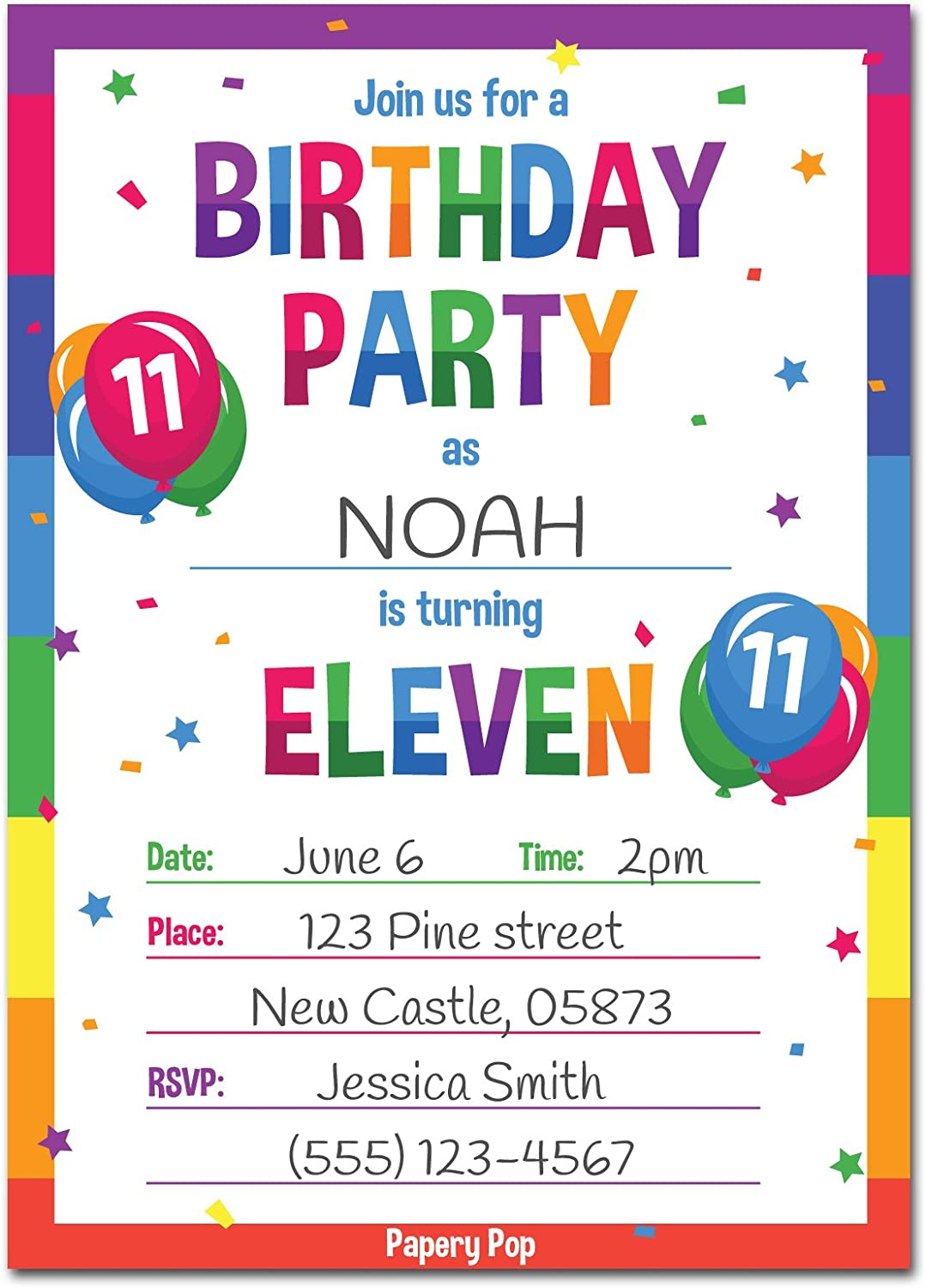 Amazon 11th Birthday Party Invitations With Envelopes 15 Count