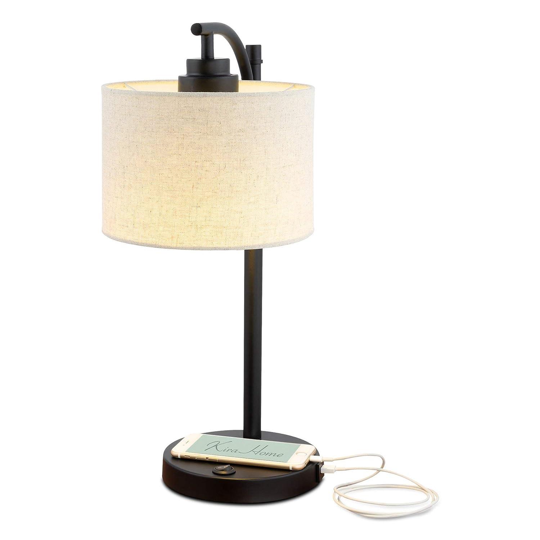 "Kira Home York 18"" Minimalist LED Table Lamp + 7W Bulb (Energy Efficient/Eco-Friendly) + Honey Beige Shade - Modern Standing Arc Light with Hanging Lamp Shade, Black Finish"