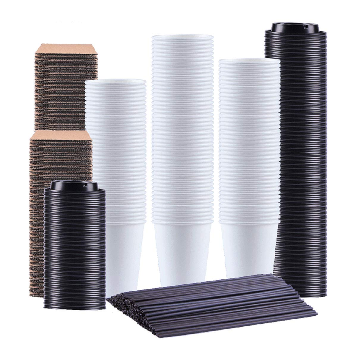 Kindpack Disposable Coffee Cups 12 oz,110 Count,With Lids Sleeves and Straws,Durable White Paper Hot Cup Perfect for Coffee, Cappuccino or Latte