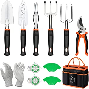 COSYLAND Garden Tools Set 12 Pieces Gardening Hand Tool Kit, Durable Storage Tote Bag, Non-Slip Handle and Pruning Shears, Gardening Supplies Gifts for Men Women