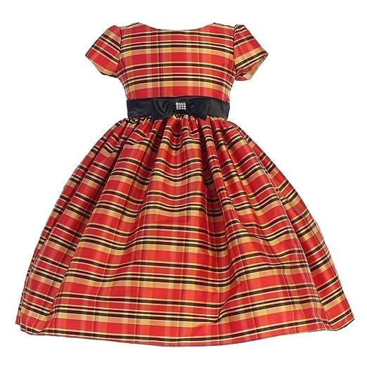 a340bc21d44d Amazon.com  Ellie Kids Big Girls Red Black Bow Short Sleeve Tartan ...