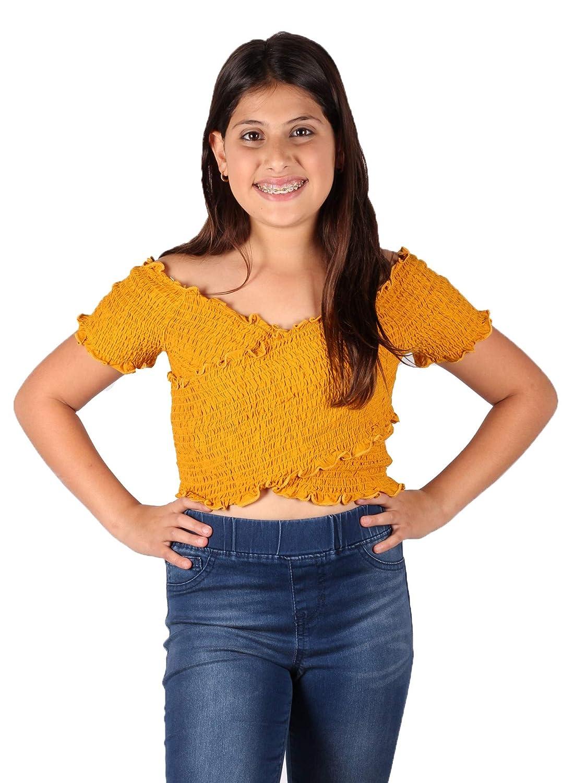 Lori /& Jane Big Girls Dark Mustard Elastic Crisscross Off-Shoulder Top 10-16