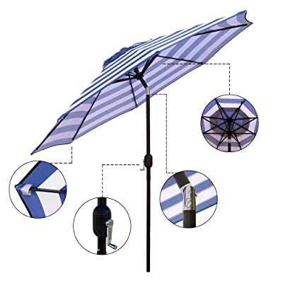 ABBLE Outdoor Patio Umbrella 9 Ft Stripe with Crank and Tilt, Weather Resistant, UV Protective Umbrella, Durable, 8 Sturdy Steel Ribs, Market Outdoor Table Umbrella - Blue and White : Garden & Outdoor