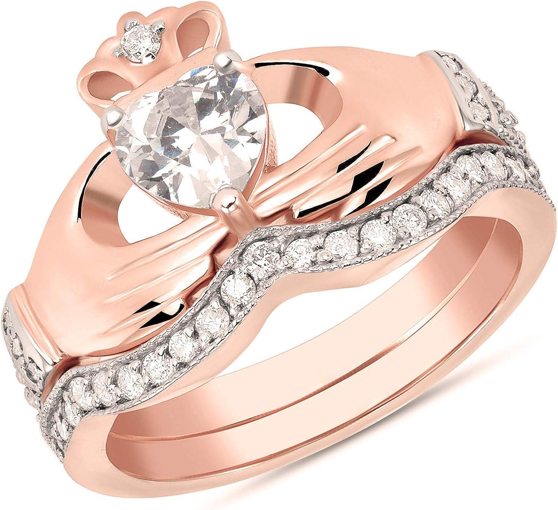 Friendship Ring Crown Ring Loyalty Diamond Set Heart Vintage Claddagh Ring 10k Gold and Diamonds Traditional Irish Wedding Ring