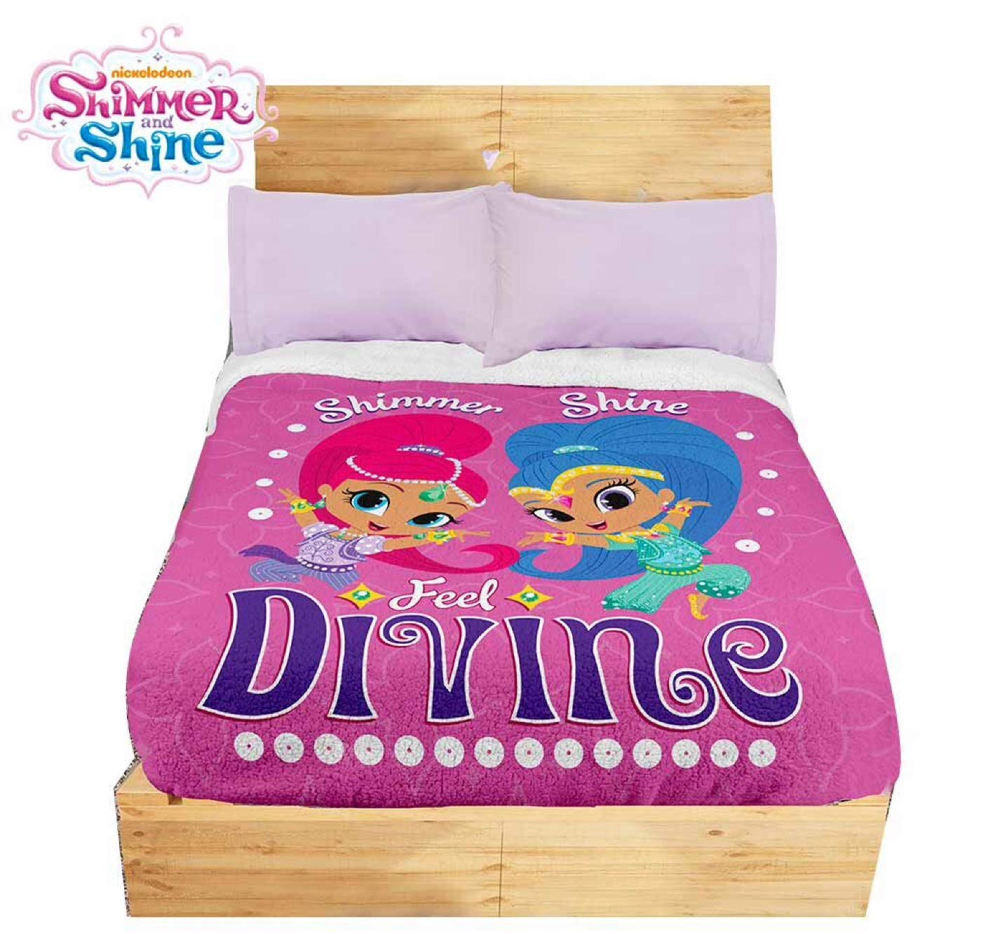 JORGE'S HOME FASHION INC LIMITED EDITION NICKELODEON SHIMMER AND SHINE KIDS GIRLS ORIGINAL LICENSE BLANKET WITH SHERPA VERY SOFTY THICK AND WARM 1 PCS TWIN SIZE