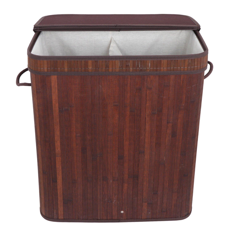 K&N356 屋内用竹製ランドリーバスケット 枝編み 衣類収納バッグ 整理箱 オーガナイザー 蓋 ホームキッチン B07MCX4JZ5