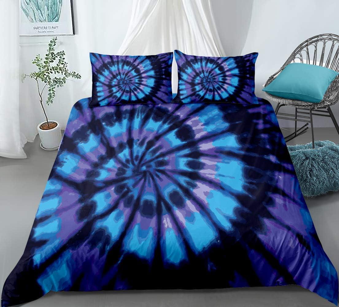 Spiral Tie Dye Duvet Cover Set Blue Purple Tie Dye Printed Hippie Bedding Set Twin Size with 1 Duvet Cover 1 Pillowcases (Blue Purple, Twin)