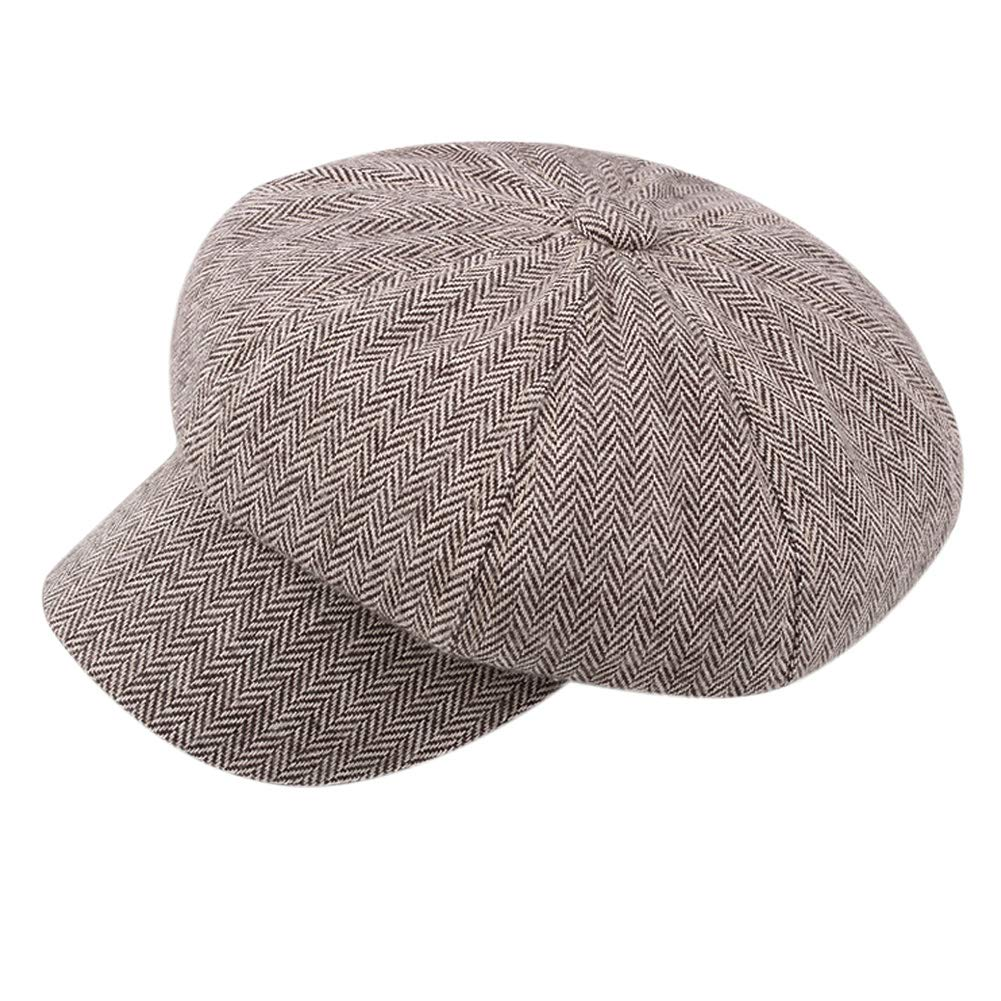 Loritta 2 Pack Mens Flat Cap Herringbone Cotton Ivy Newsboy Hat