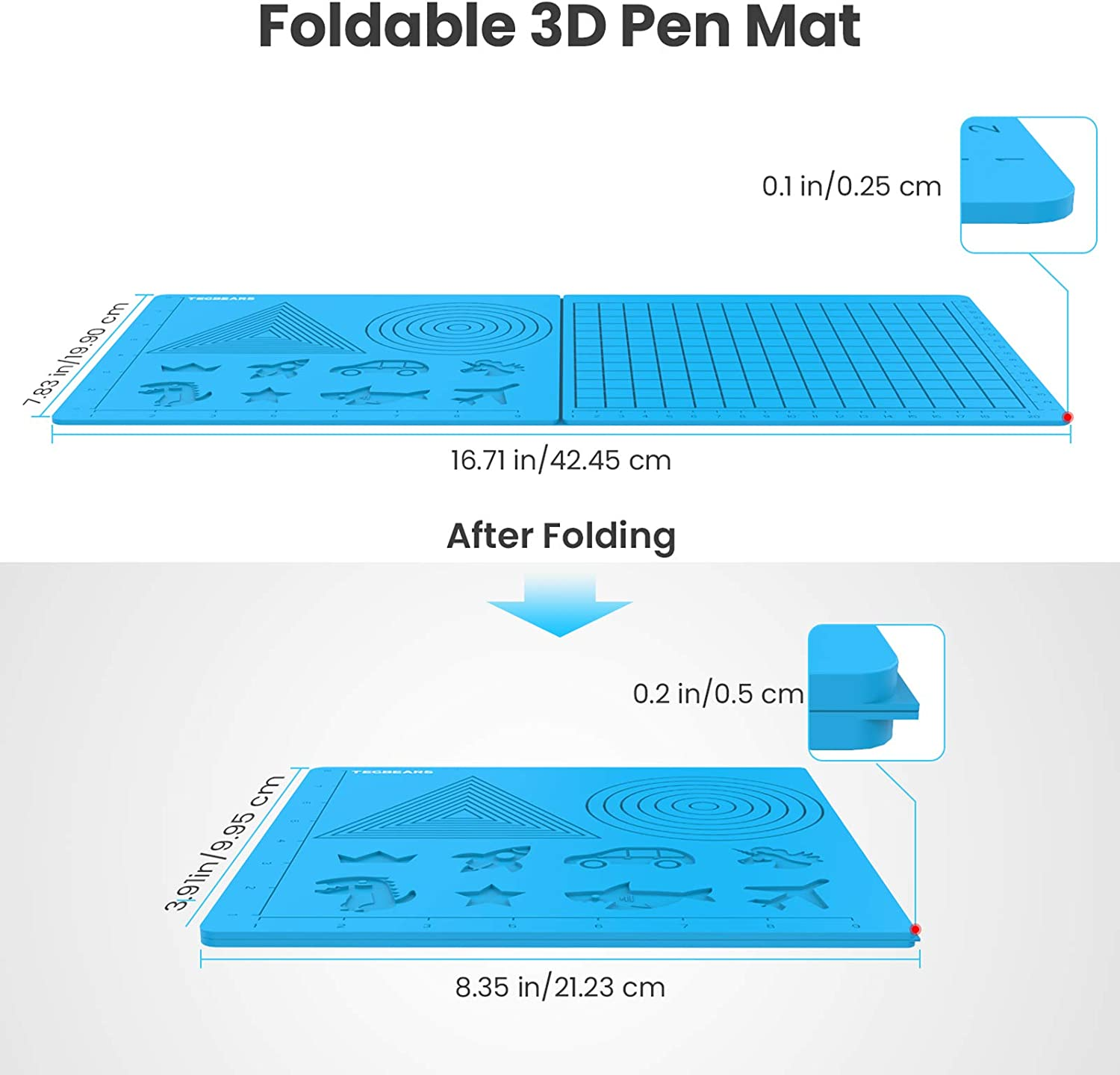Great Tools for 3D Beginners//Kids Silicone 3D Pen Drawing Mat with 4 Finger Caps Rich Cartoon Patterns and Geometry Figures Enrich Your Creations Tecbears 3D Printing Pen Mat