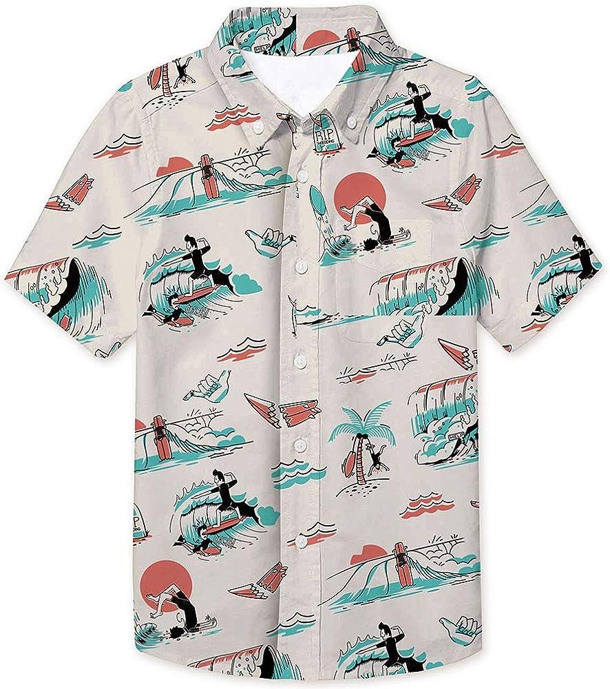 2-8T Boys Button Down Hawaiian Shirts Aloha Short Sleeve Party Holiday Novelty Dress Shirt