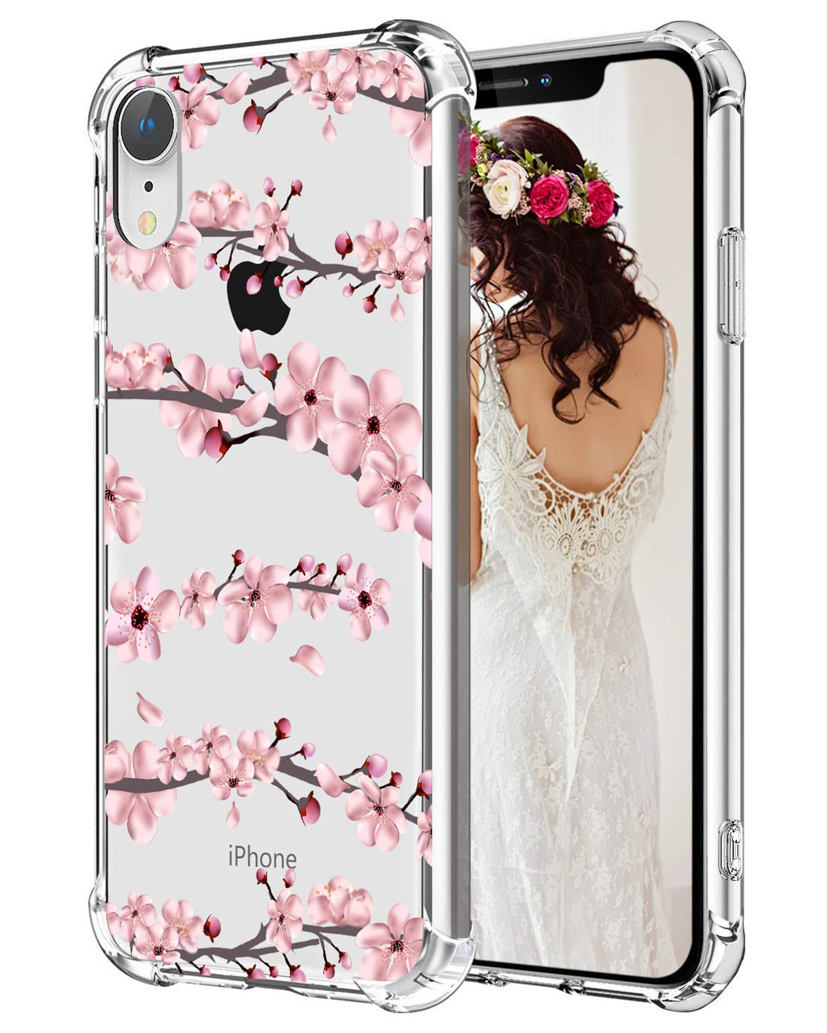 best service f3ec5 5a3fe Hepix iPhone XR Case Pink Cherry Flowers Clear Protective Phone Cover Cases  TPU Frame Anti-Scratch Shock Absorbing Case with Reinforced Bumper for ...