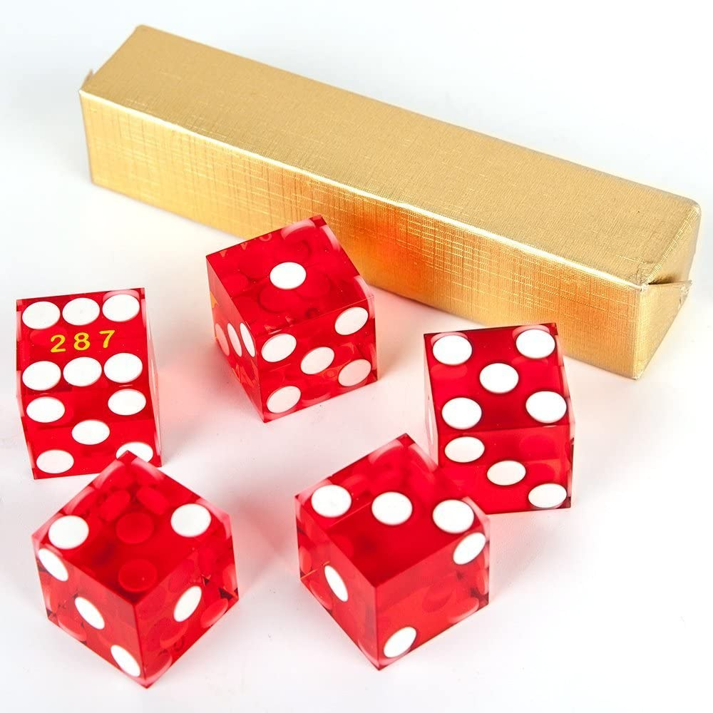 GAMELAND Grade AAA 19mm Casino Dice with Razor Edges and Matching Serial Numbers Set of 5