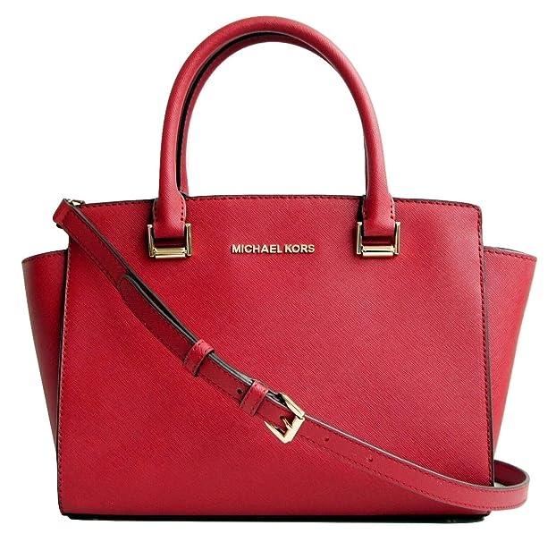 1d9e1bbb75ab Amazon.com: Michael Kors Selma Medium Satchel Saffiano Scarlet: Shoes