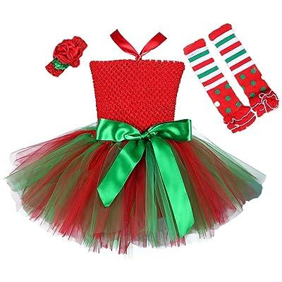 Tutu Dreams 3pcs Christmas Costume for Girls Tutu Dress with Headwear and Leggings: Clothing