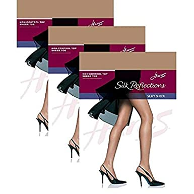 60112a0815b8 Image Unavailable. Image not available for. Color: Hanes Women`s Set of 3 Silk  Reflections Non-Control Top Sheer Toe Pantyhose