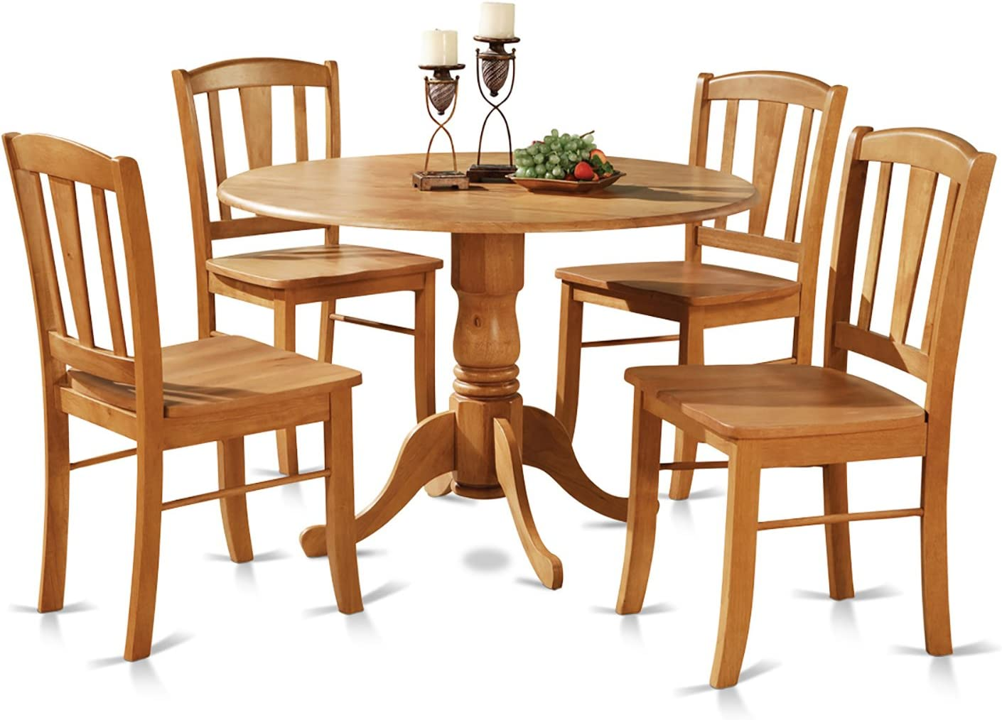 Amazon.com: DLin5-OAK-W 5 Pc Small Kitchen Table And Chairs Set-round Table And 4 Dinette Chairs Chairs: Furniture & Decor