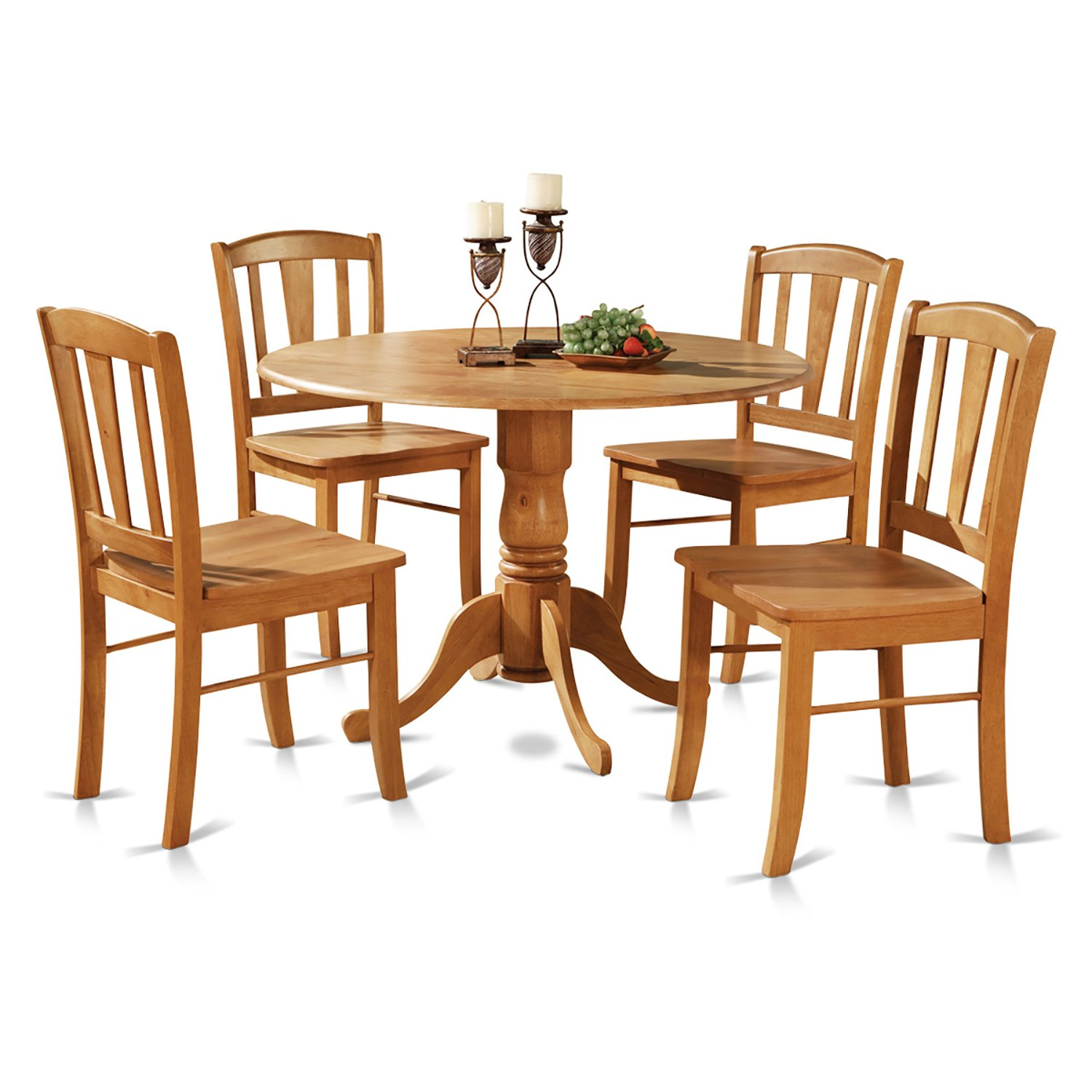 East West Furniture DLIN5-OAK-W 5-Piece Round Kitchen Table and 4 Dinette Chairs Set, Oak Finish by East West Furniture