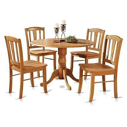 east west furniture dlin5 oak w 5 piece round kitchen table and 4 - Round Kitchen Table