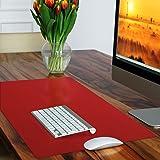 Sous-main casa pura® rouge sans plastifiants / PVC   parfait pour les enfants ou le bureau   taille 50x65cm