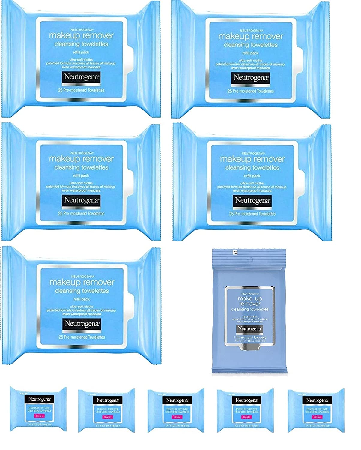 Neutrogena Makeup Remover Cleansing Towelettes, Daily Face Wipes to Remove Dirt, Oil, Makeup & Waterproof Mascara, 132 Count Plus 5 Bonus Single Pouches