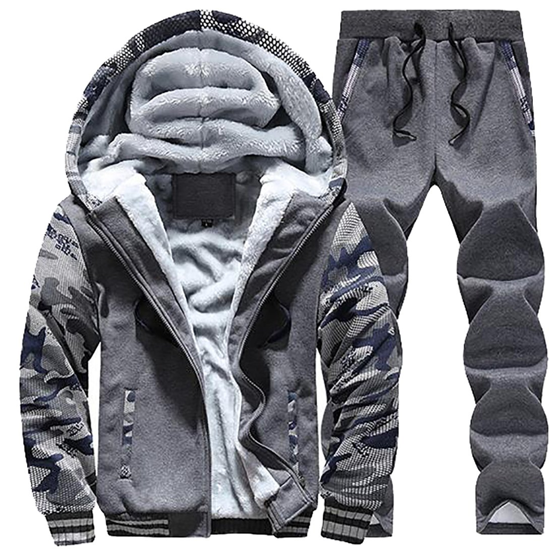 ARRIVE GUIDE Mens Sherpa Lined Hoodies Jacket Print Thicken Pants Tracksuits