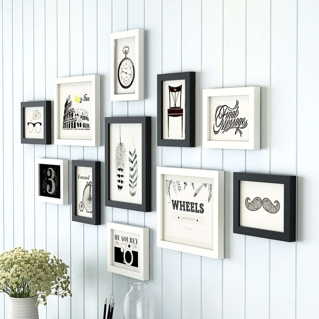 ZYANZ Simple And Stylish Black And White Mix And Match, Pine Free Combination Photo Frame (11 Packs)
