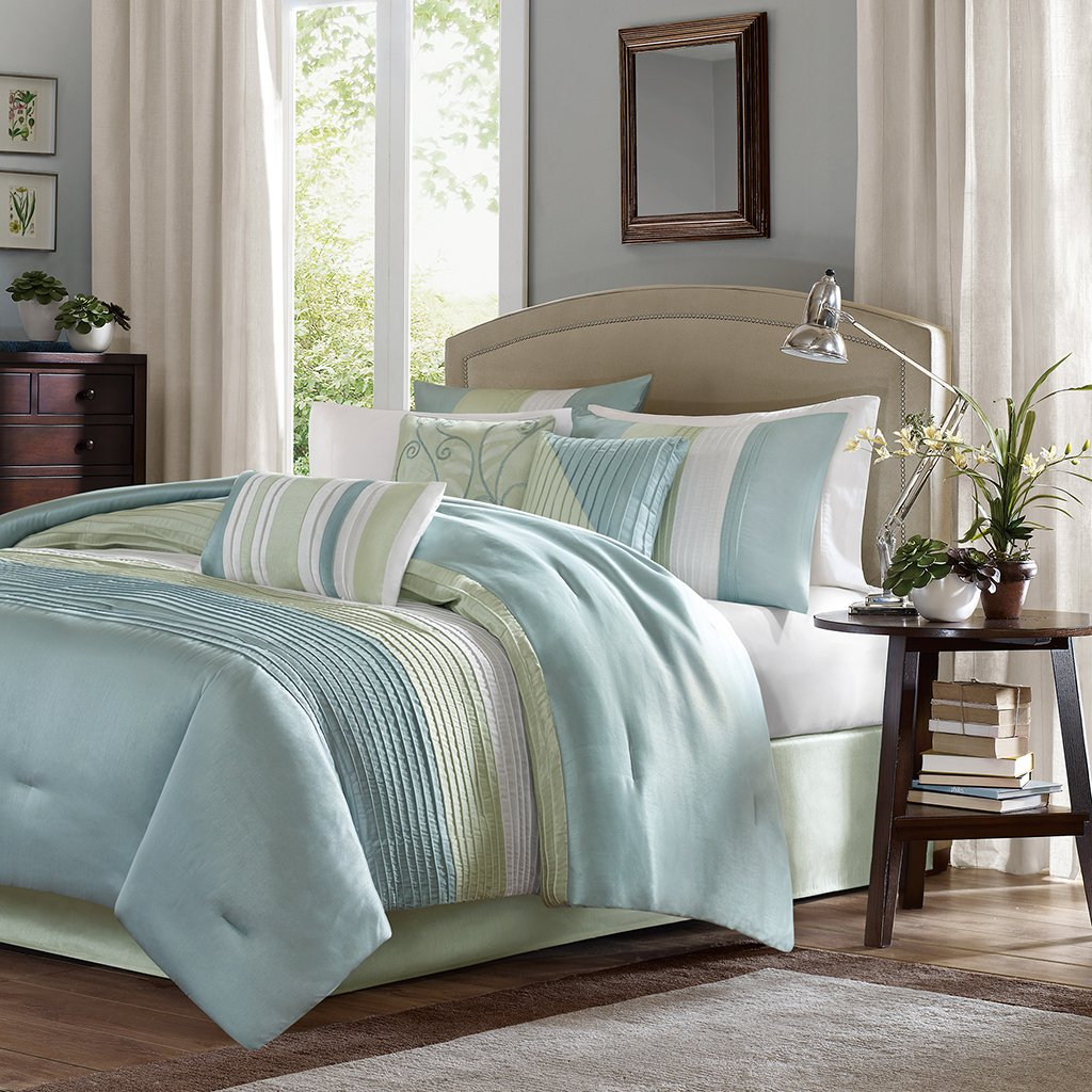 Madison Park Amherst Full Size Bed Comforter Set Bed in A Bag - Green, Aqua, White, Pieced Stripes – 7 Pieces Bedding Sets – Ultra Soft Microfiber Bedroom Comforters by Madison Park