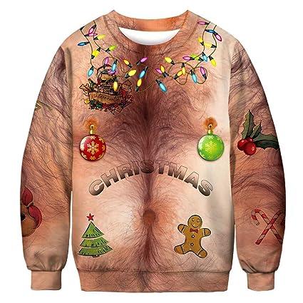 Jersey de manga larga de hombre cálido Unisex Hombres Mujeres Sudaderas de  Navidad Sudaderas Adultos Divertido f406f177856bc