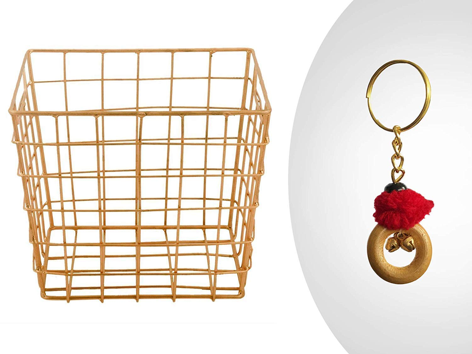 Metal Wire Mesh Square Brass Plated Utility Basket Storage Organizer for Kitchen Office Cabinets Makeup Bathroom Laundry Closets Garage with Free Keychain Housewarming Gift for Him /& Her