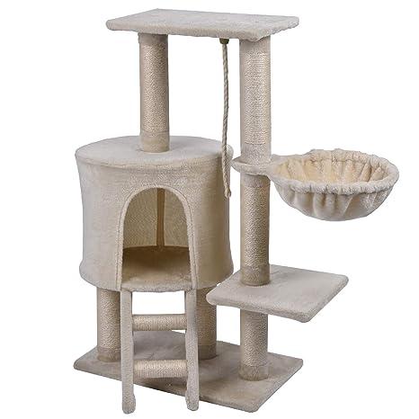 Wellhome Arbol para Gatos Escalador para Gatos Sisal Cubierto Rascador para Gatos con Hamaca y Plataforma