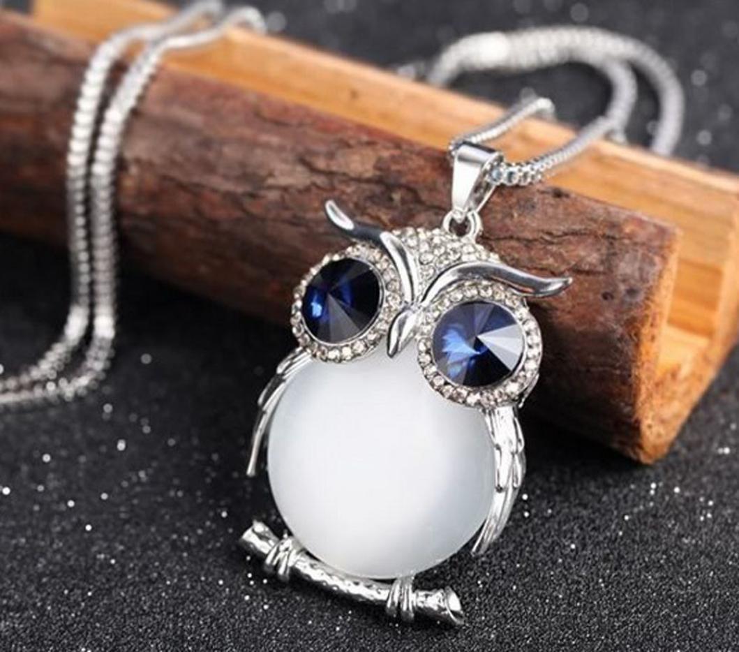 ulooie Fashion mujeres collar de b/úho colgante de diamantes su/éter cadena larga collar blanco