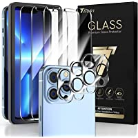 TAURI 3 + 3 Pack Compatible with iPhone 13 Pro Max 6.7 Inch, 3 Pack Tempered Glass Screen Protector, 3 Pack Camera Lens…