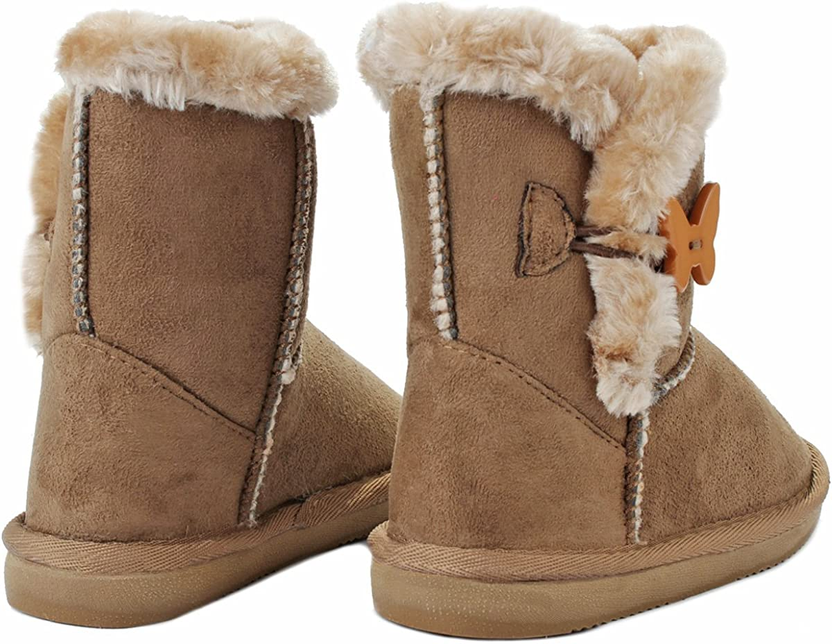 Sunny Shoes Kids Girl Butterfly//Amy Button Faux Fur Lined Shearling Winter Ankle Boots