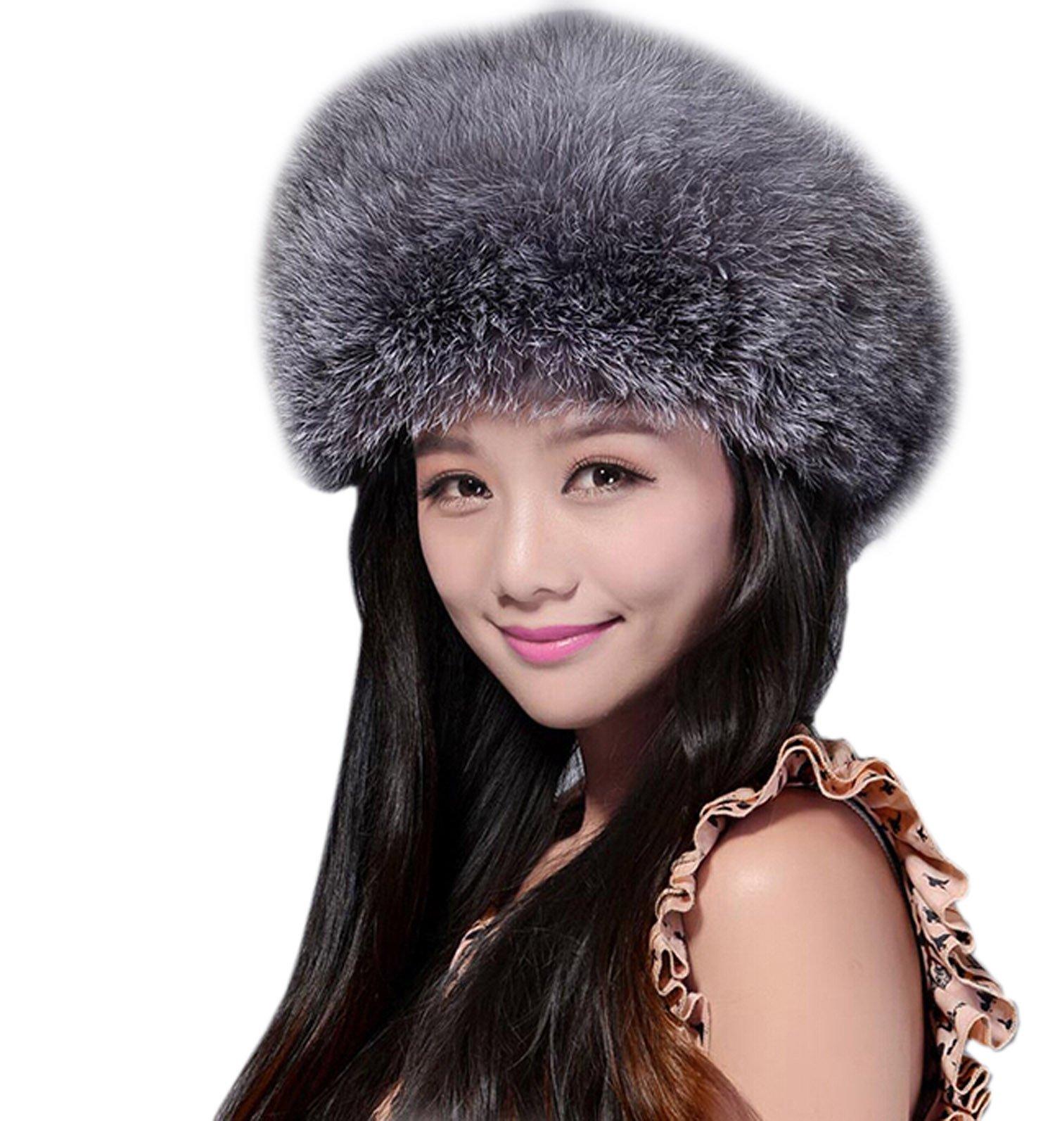 Easting Women's Fox Fur Siberian Mongolian Ushanka Trapper Hats (Silver Fox) by Easting&co
