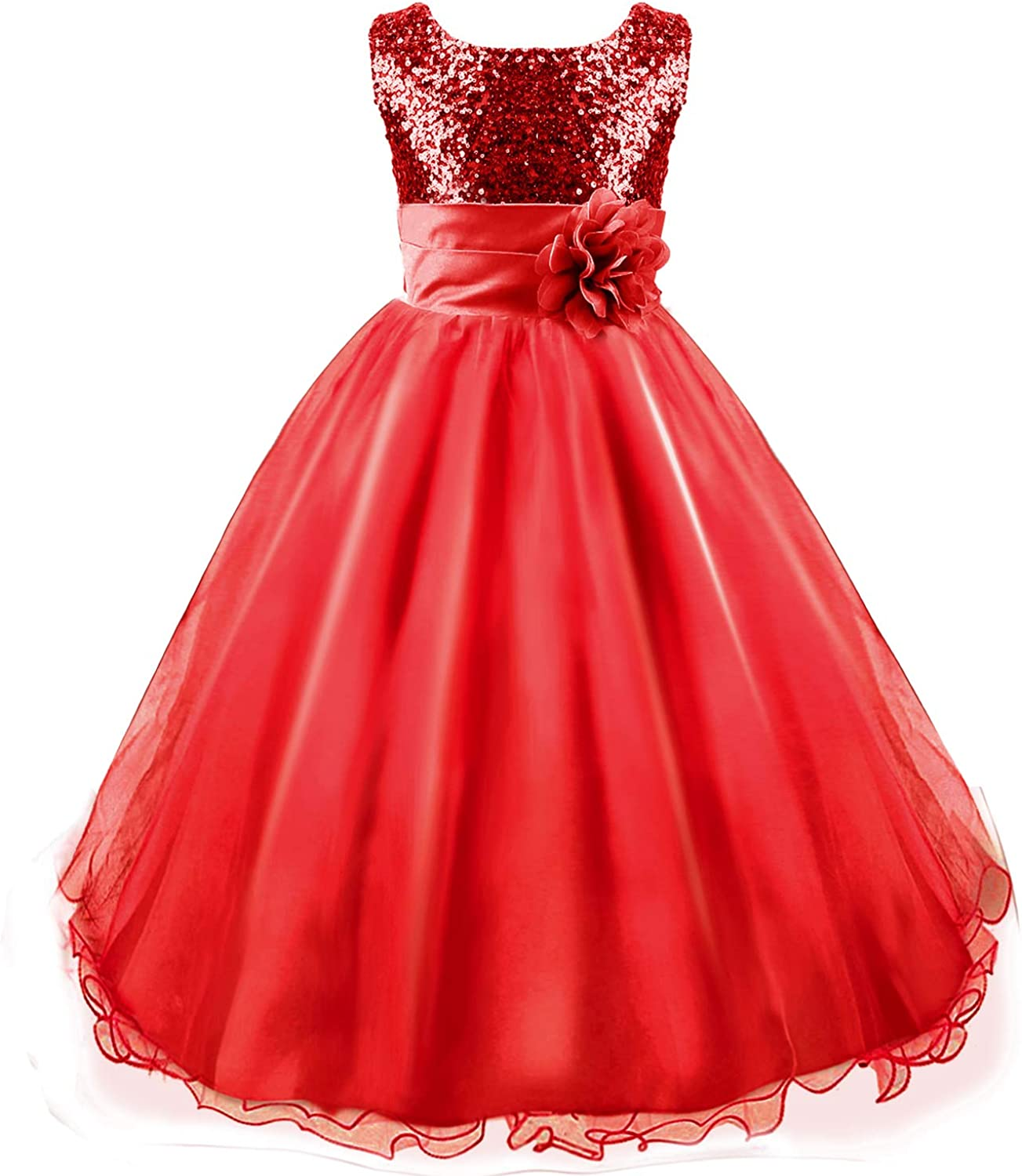 Discoball Girls Princess Dress Sequin Tulle Flower Pageant Birthday Party Wedding Bridesmaid Girl Dresses for 3-12 Years
