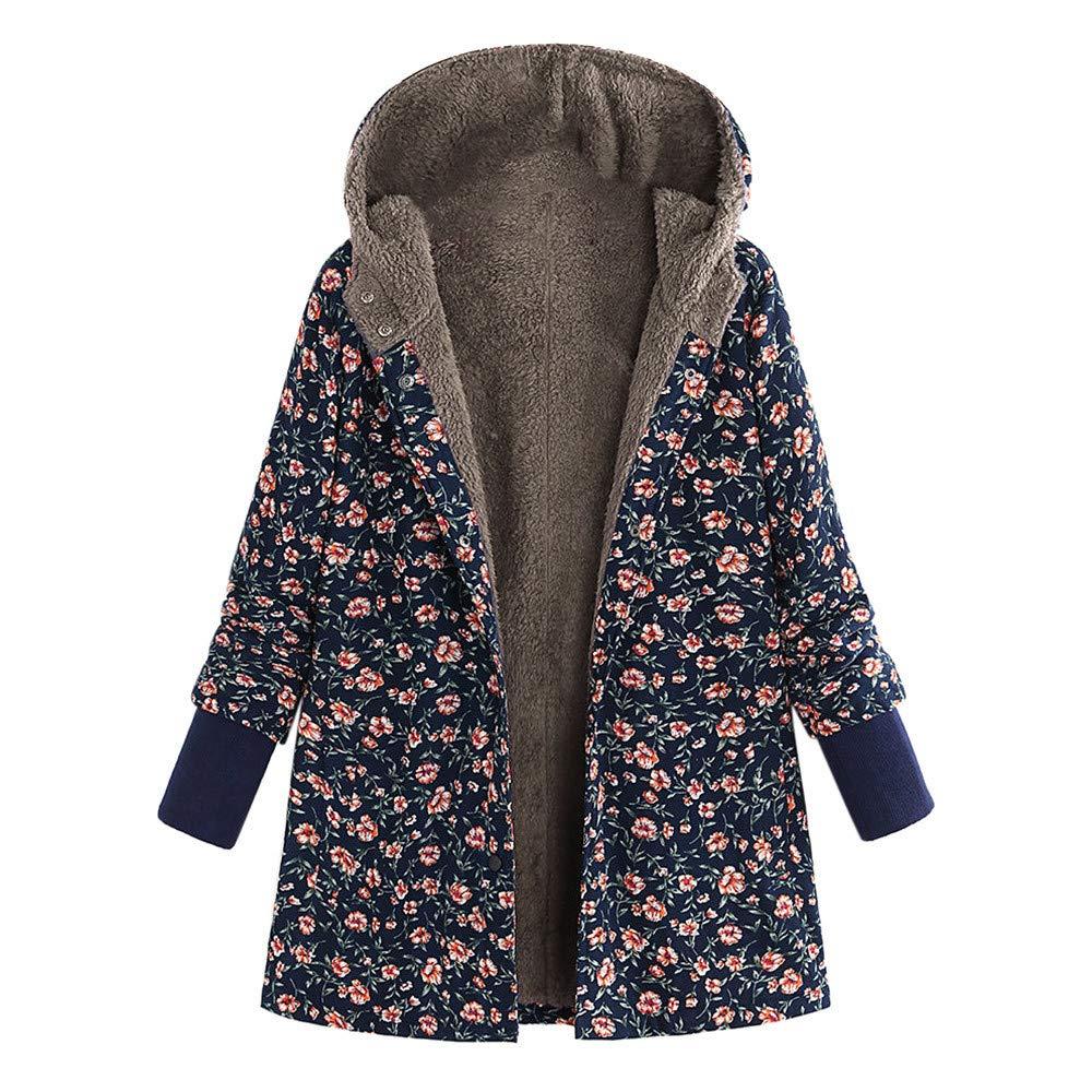 Amzeca Plus Size Women Hooded Long Sleeve Tops Vintage Ladies Fleece Thick Coats