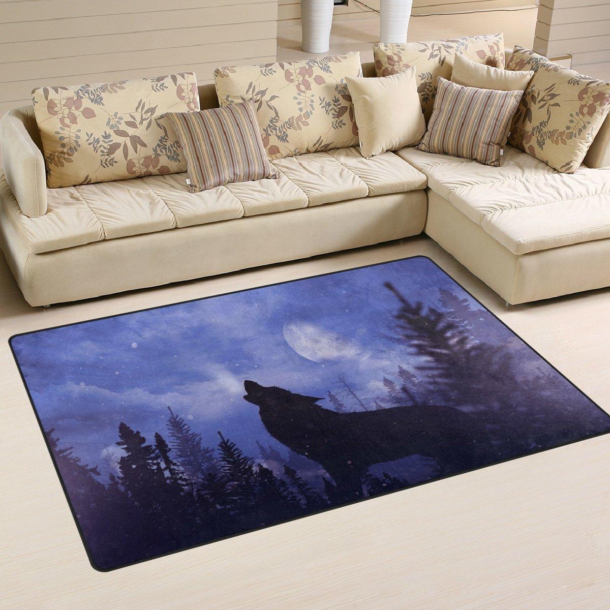 WOZO Moon Starry Forest Wolf Animal Area Rug Rugs Non-Slip Floor Mat Doormats Living Room Bedroom 60 x 39 inches
