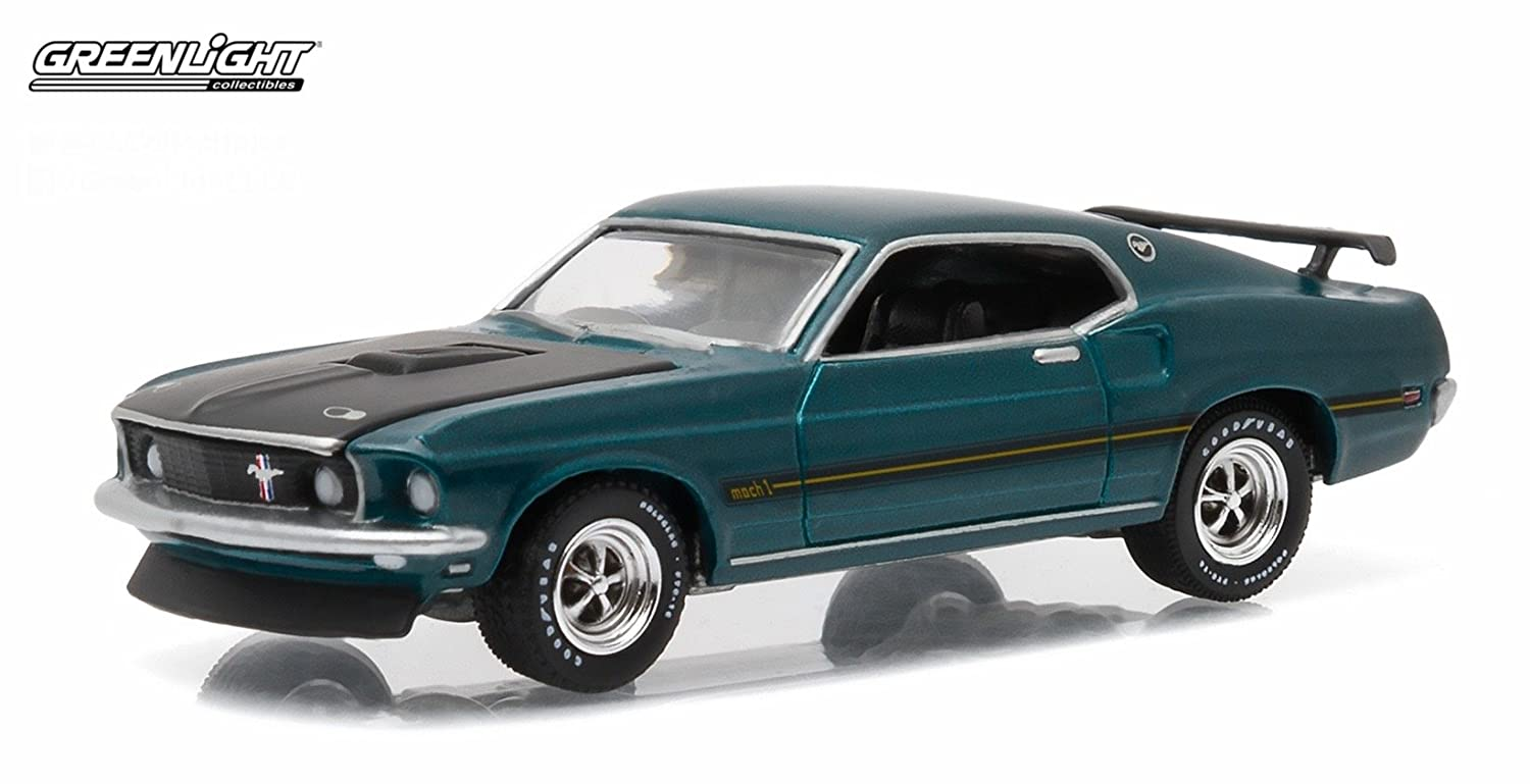 Amazon com 1969 ford mustang mach 1 gulfstream aqua gl muscle series 15 greenlight collectibles 2016 limited edition 1 64 scale die cast vehicle