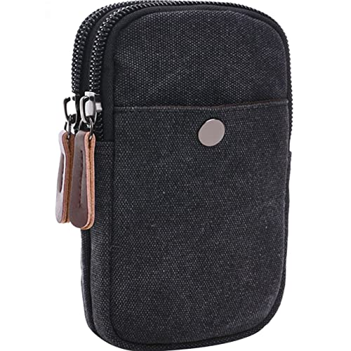 Menschwear Canvas Universal Multipurpose Kapazität Oversize EDC Tasche Tactical Pouches Smartphone Security Pack Carry Accessory Kit Pouch Belt Loops Waist Tasche Gadget Money Pocket Schwarz