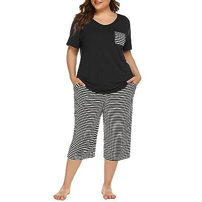 Irevial Women Pajamas Sets Striped Short Sleeve Cotton Sleepwear Nightwear Pjs Sets