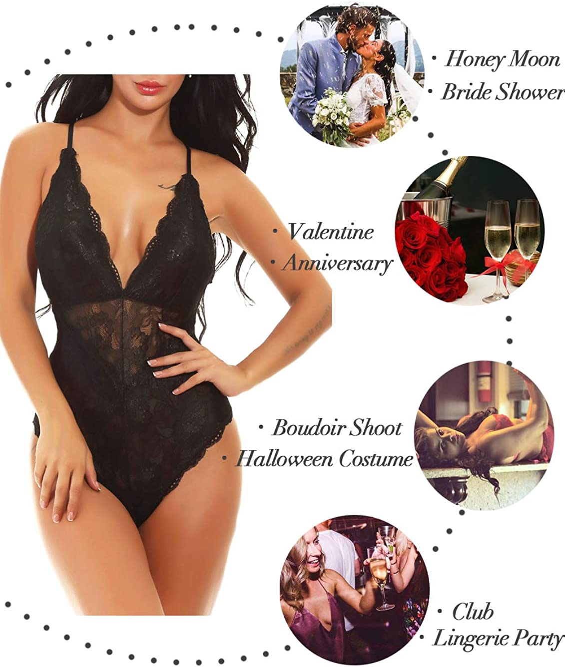 Kaei&Shi V-Neck See Through Lingerie Floral Lace Babydoll Sexy Lingerie for Women One Piece Bodysuit at  Women's Clothing store