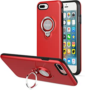 iPhone 8 Plus Case, iPhone 7 Plus Case, ICONFLANG 360 Degree Rotating Ring Kickstand Case Shockproof Impact Protection [Support Magnetic Car Mount Case] for iPhone 8 Plus / 7 Plus (2018) - Red