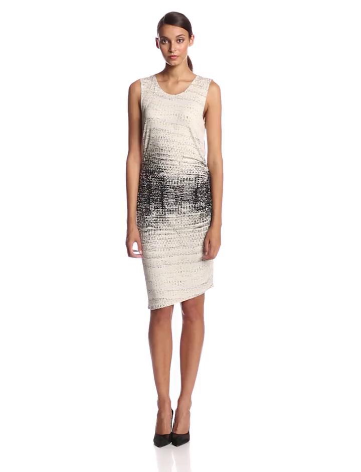 HALSTON HERITAGE Women's Printed Dress with Asymmetrical Hem,Eggshell Mirage Print,X-Small