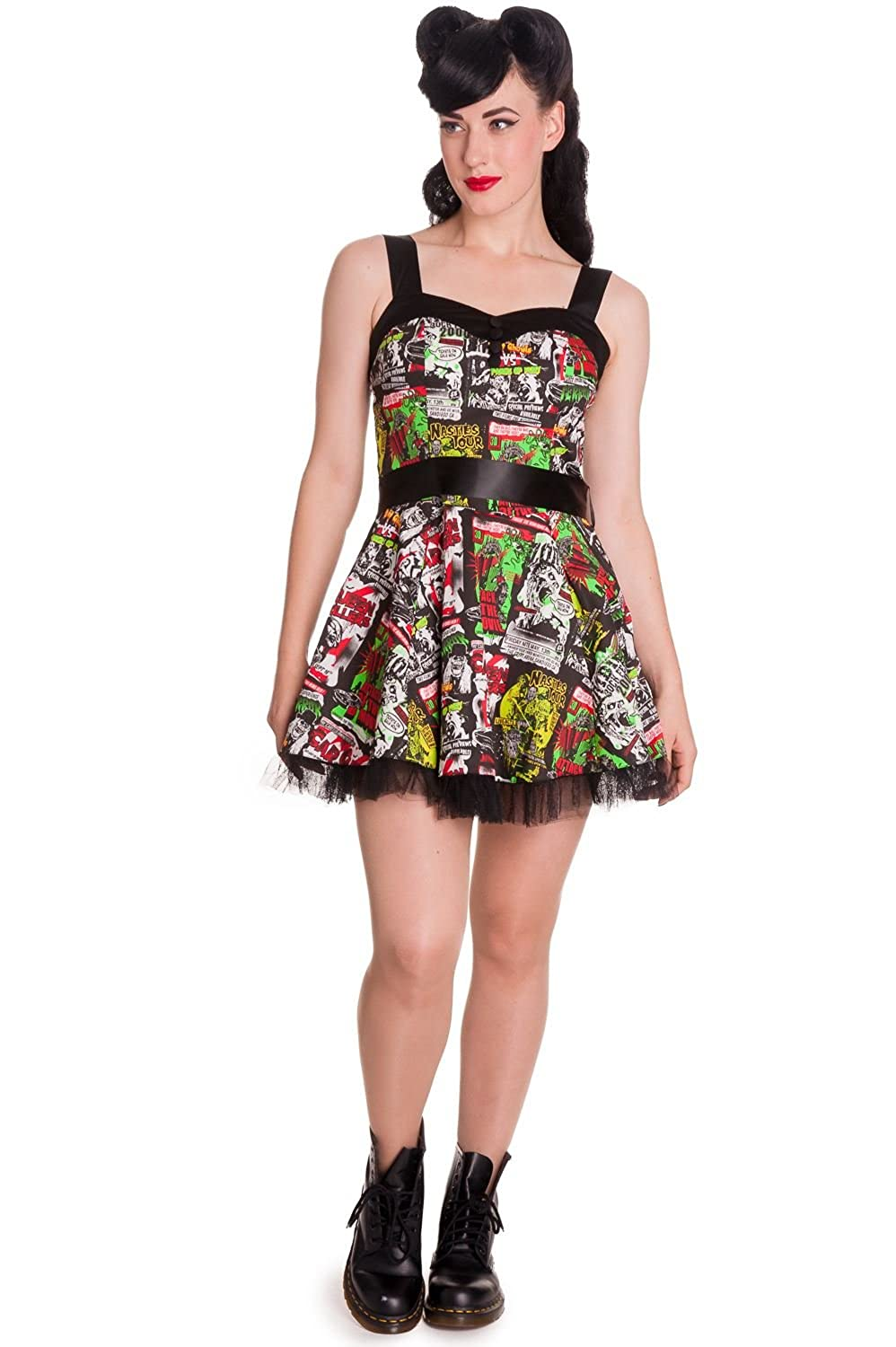 Hell Bunny B-Movie Cartoon Mini Dress