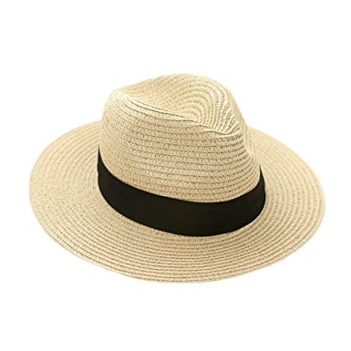 iHomey Panama Straw Sun Hat Women   Men Foldable Wide Brim Beach Sun Caps  (Beige 883aca23422e