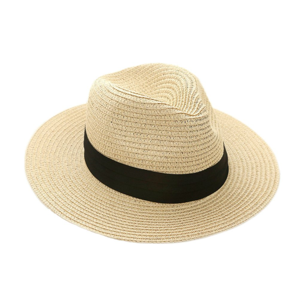 iHomey Panama Straw Sun Hat Women & Men Foldable Wide Brim Fedora Beach Sun Caps