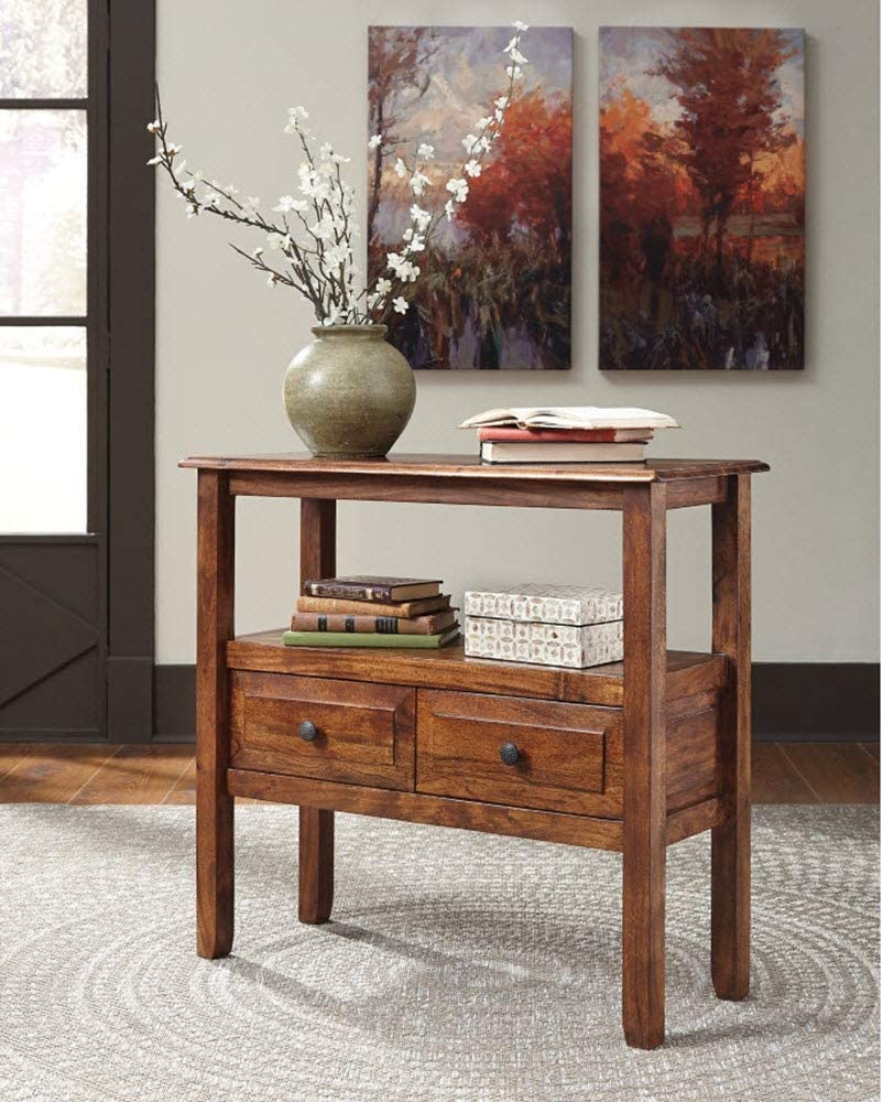Signature Design by Ashley - Abbonto Accent Table - Casual - Warm Brown