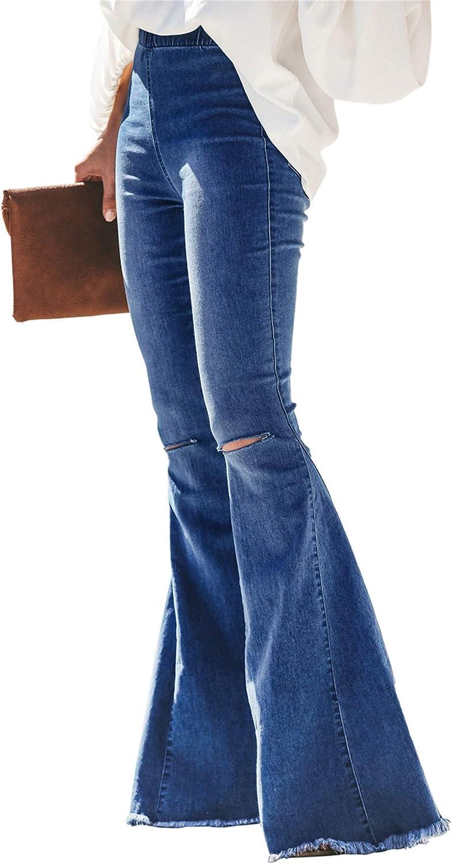 MODARANI Womens Elastic Waist Jeans Distressed Bell Bottom Denim Pants S-2XL