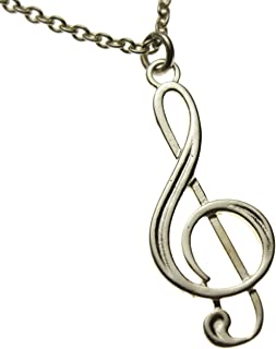"""product image for From War to Peace Treble Clef Silver-Dipped Pendant Necklace on 20"""" Rolo Chain"""